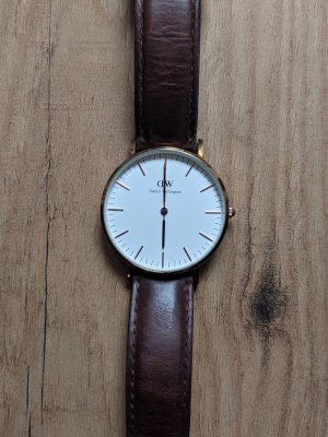 Daniel Wellington Watch With Leather Strap dark brown-rose-gold-coloured