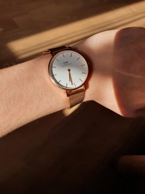 Daniel Wellington Watch With Metal Strap white-gold-colored