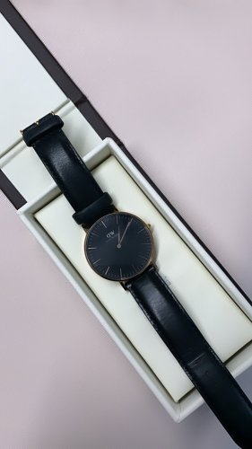 Daniel Wellington Watch With Leather Strap black-rose-gold-coloured