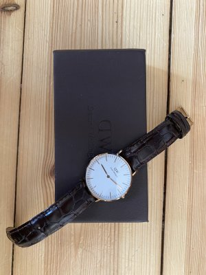 Daniel Wellington Watch With Leather Strap black brown-rose-gold-coloured