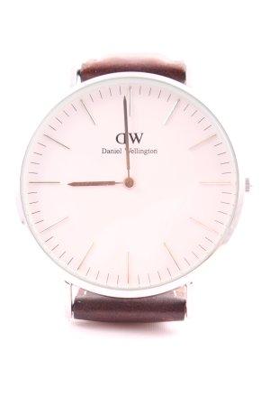 Daniel Wellington Horloge met lederen riempje bruin-zilver zakelijke stijl