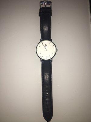 Daniel Wellington Horloge met lederen riempje zwart-zilver