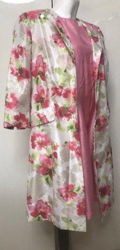 Danillo Stefani Damen Kleid + Mantel Blumen Weiß Rosa 50