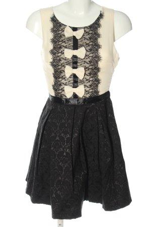 Danity Robe trapèze crème-noir motif abstrait style décontracté