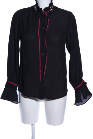 Danity Long Sleeve Blouse black-red business style