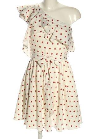 Danity One-Shoulder-Kleid weiß-rot Punktemuster Casual-Look
