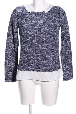 Danity Rundhalspullover weiß-blau meliert Business-Look