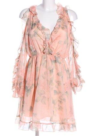 Danity Robe à volants rose chair-kaki imprimé allover style décontracté