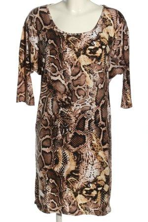 Dannenmann Stretch Dress brown-white allover print elegant