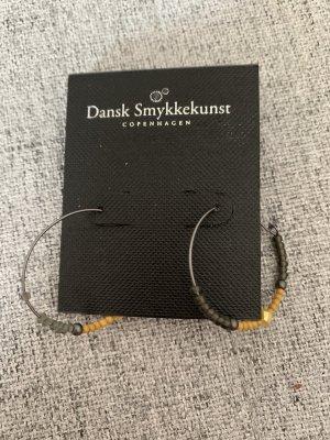 Dansk Smykkekunst Ohrringe Perlen gelb grau Silber neu Creolen Coppenhagen
