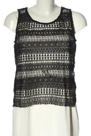 Daphnea Crochet Top black-white graphic pattern casual look