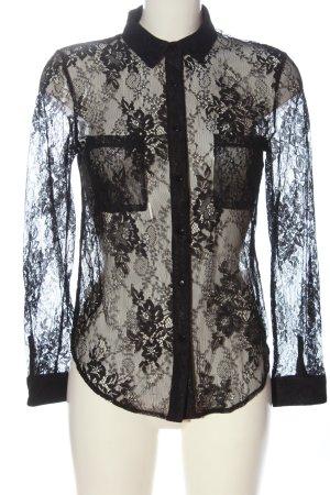Daphnea Koronkowa bluzka czarny W stylu casual