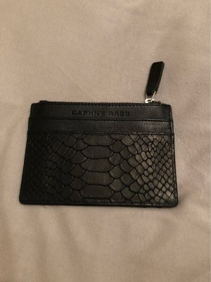 Wallet black-silver-colored leather