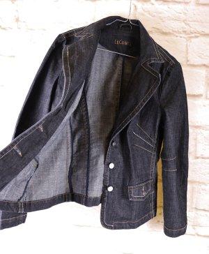 Dark Blue Denim Jeansjacke Jeansblazer Jacke LeComte Größe L 42 Blau Grau Kontrast Tailliert Blazer
