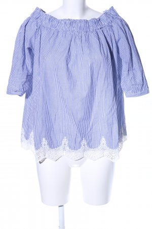 Darling Harbour Carmen blouse blauw-wit gestreept patroon elegant