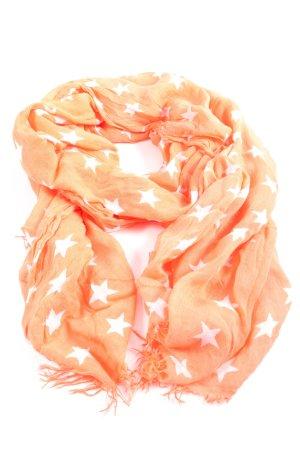 Darling Harbour Sjaal met franjes licht Oranje-wit volledige print
