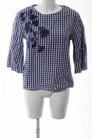 Darling Harbour Slip-over blouse blauw-wit volledige print casual uitstraling