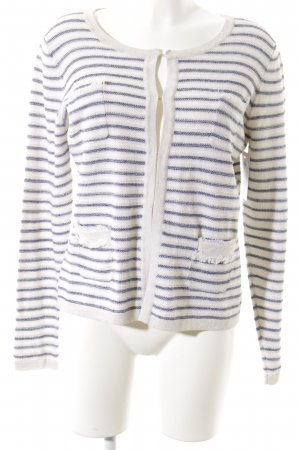 Darling Harbour Strickjacke weiß-blau Streifenmuster Casual-Look