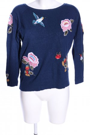 Darling Harbour Knitted Sweater blue-pink themed print casual look