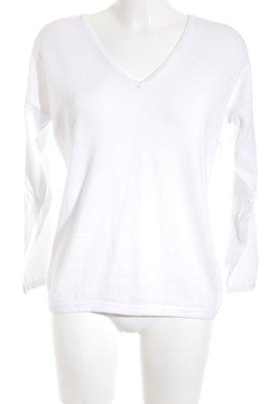 Darling Harbour Maglione con scollo a V bianco stile casual
