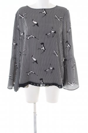 Darling Long Sleeve Blouse white-black allover print casual look
