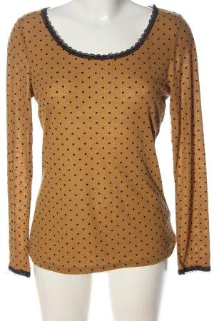 Darling Koszulka z długim rękawem brązowy-czarny Wzór w kropki Elegancki
