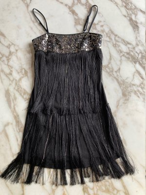 Pinko Vestido con flecos negro Algodón