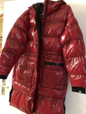 100% Fashion Manteau en duvet rouge fluo