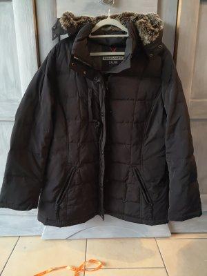 Daunen Jacke, mit Kapuze, Schwarz