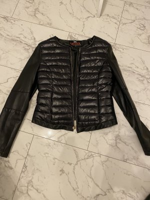 Daunen Jacke mit Leder neu