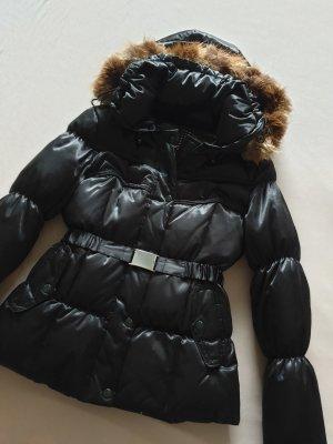 Daunenjacke Echtpelz schwarz-glänzend