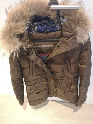 HETREGO Manteau en duvet gris brun-marron clair