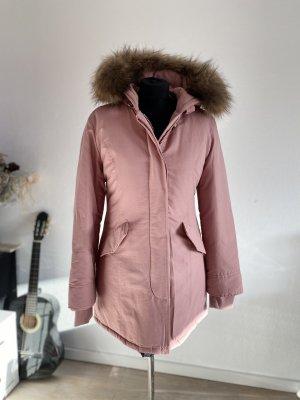 Cappotto con cappuccio color oro rosa
