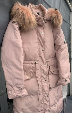 Piumino lungo rosa antico-rosa pallido