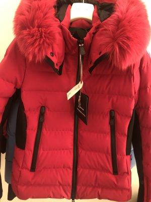 Moncler Manteau en duvet rouge fluo