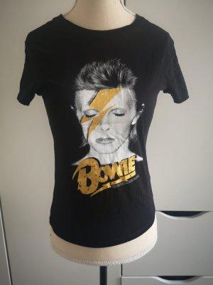 David Bowie Shirt Starlight von H&M, Gr.XS schwarz
