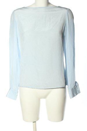 David Hayes Blouse en soie bleu-blanc motif rayé style décontracté