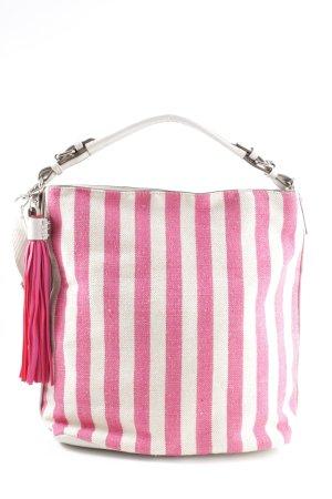 David Jones Henkeltasche weiß-pink Streifenmuster Casual-Look