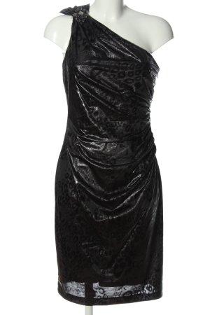David Meister One Shoulder Dress black-light grey allover print elegant