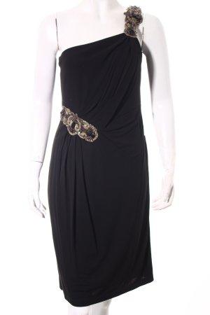David Meister One-Shoulder-Kleid schwarz-goldfarben Elegant