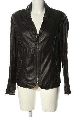 David Moore Lederjacke schwarz Casual-Look