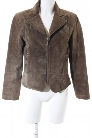 David Moore Leather Jacket green grey casual look