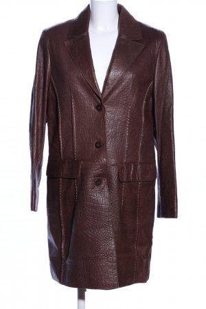 David Moore Leather Coat brown animal pattern business style