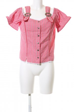 David Moore Traditional Blouse red-white check pattern business style