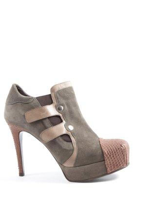David Tyler Chaussure à talons carrés gris clair-brun motif animal