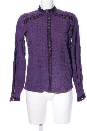 Langarm-Bluse lila Punktemuster Elegant