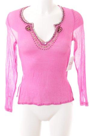 DAY Birger et Mikkelsen Transparenz-Bluse pink Paillettenverzierung