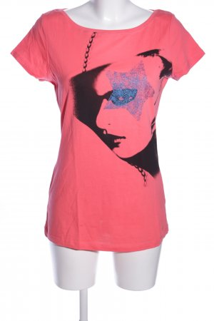 de.corp by Esprit T-Shirt pink-black themed print casual look