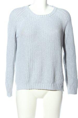 Dear Cashmere Crewneck Sweater blue cable stitch casual look