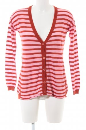 Dear Cashmere Cardigan pink-red striped pattern casual look